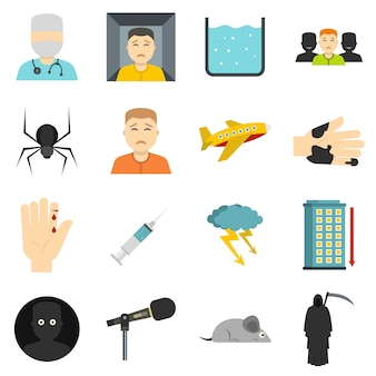 Icone di simboli di phobia messe nello stile piano