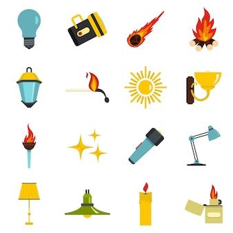 Icone di simboli di sorgente luminosa impostate in stile piano