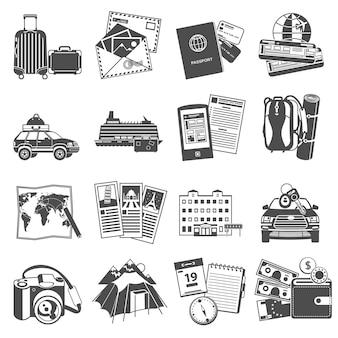 Icone di simboli di viaggio di vacanze estive impostate