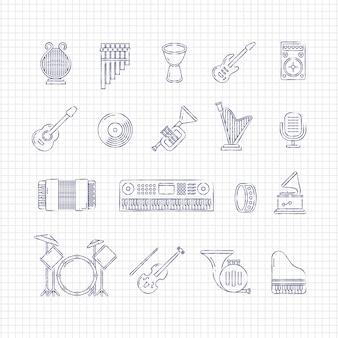 Icone di sottile linea di strumenti di musica concerto