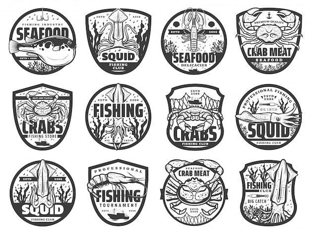 Icone di sport di pesca in mare, emblemi