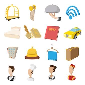 Icone di stile del fumetto dell'hotel impostate. simboli di servizio