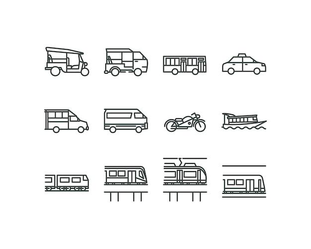 Icone di stile di design piatto lineare di trasporti pubblici di bangkok.