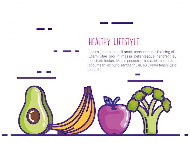 Icone di stile di vita di cibo sano