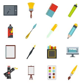Icone di strumenti di design e disegno impostati in stile piano