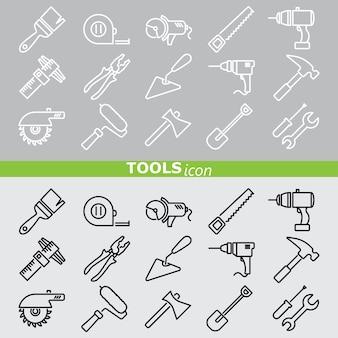 Icone di strumenti. linea impostata