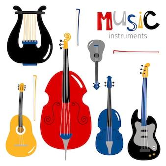 Icone di strumenti musicali a corda isolate su bianco