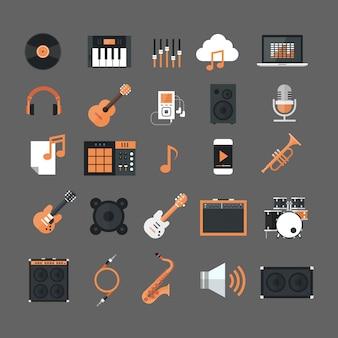 Icone di strumenti musicali e attrezzature icone di elettronica set button collection
