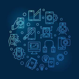 Icone di sviluppo di app mobili in un round