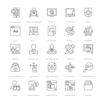 Icone di sviluppo e web design