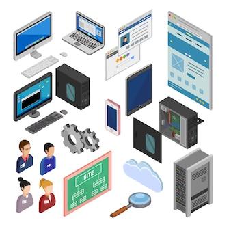 Icone di sviluppo isometriche