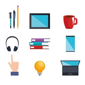 Icone di tecnologia di apprendimento elettronico