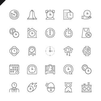 Icone di tempo linea sottile impostate