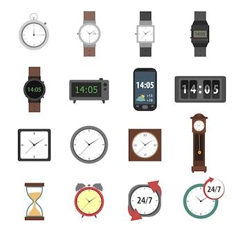 Icone di tempo piatte