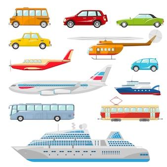 Icone di trasporto piatte