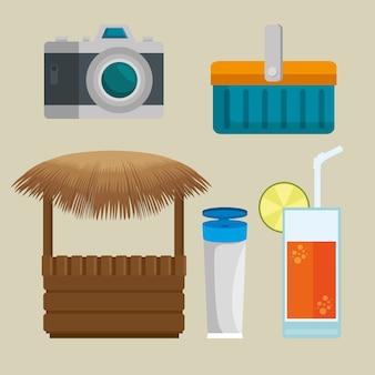 Icone di vacanze estive e spiaggia