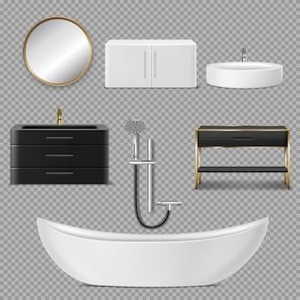 Icone di vasca, doccia, specchio e lavandino per il bagno