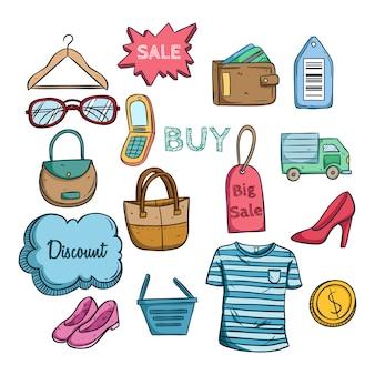 Icone di vendita dello shopping online colorato con stile disegnato a mano colorata