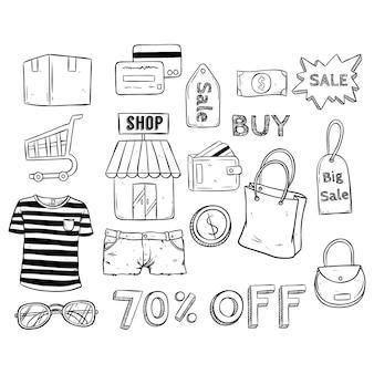 Icone di vendita negozio online di e-commerce con stile disegnato a mano