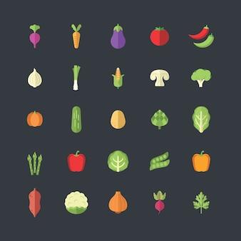 Icone di verdure in moderno stile piatto