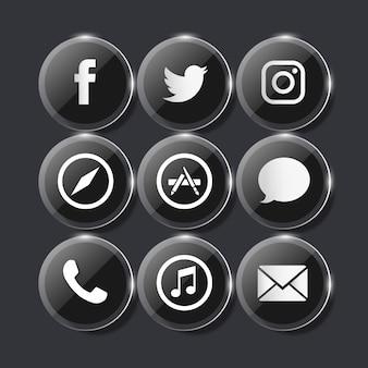 Icone di vetro sociale nere di vetro