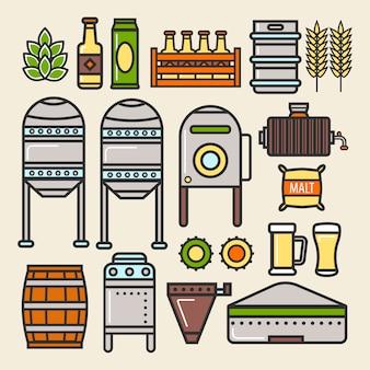 Icone di vettore degli elementi della linea di produzione della fabbrica della fabbrica della birra della birra