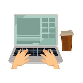 Icone di vettore del computer utente blogger o vlogger per blog o video vlog
