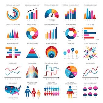 Icone di vettore del grafico di dati di finanza di colore. statistiche grafiche e diagrammi di presentazione colorati