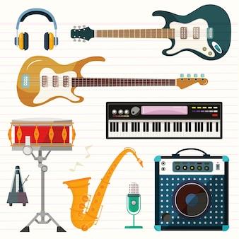 Icone di vettore di chitarra, pianoforte e drum station