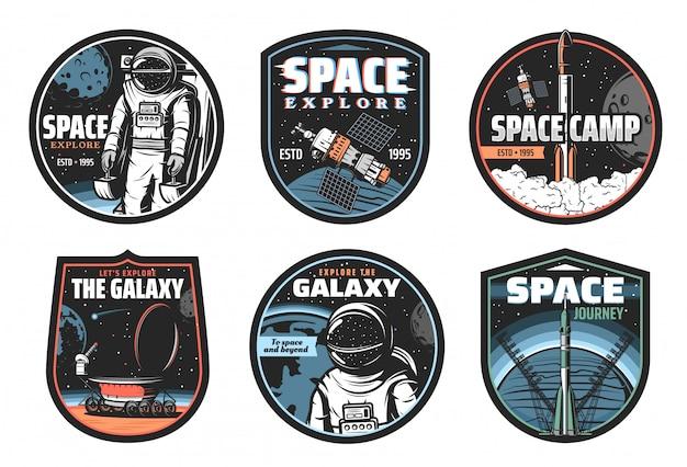 Icone di vettore di galassia, spazio, astronauta e razzo