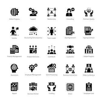 Icone di vettore di glifo gestione aziendale