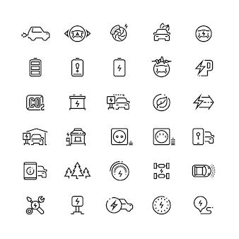 Icone di vettore di linea di auto elettriche. veicoli ibridi della batteria e simboli di trasporto verdi