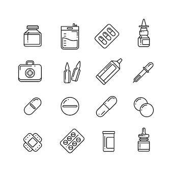 Icone di vettore di linea di farmaco