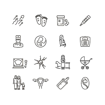 Icone di vettore di linea gravidanza e neonato. maternità e pittogrammi bambino neonato