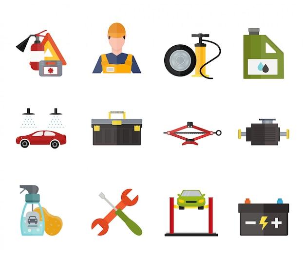 Icone di vettore di riparazione di servizio dell'automobile messe