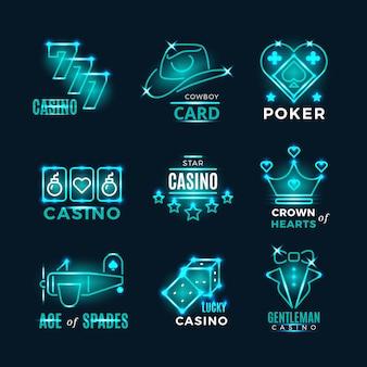 Icone di vettore di torneo di poker e casinò d'epoca al neon