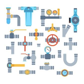 Icone di vettore di tubi isolati.