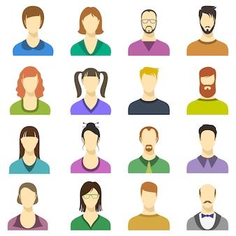 Icone di vettore di volti maschili e femminili. avatar di affari moderni di persone umane