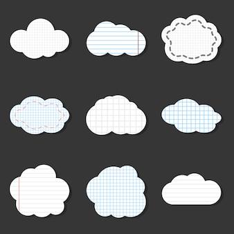 Icone di vettore nuvola foderata. adesivi per scuola stile notebook