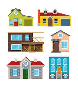 Icone di vettore piatto cottage house