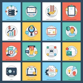 Icone di vettore piatto creativo di affari