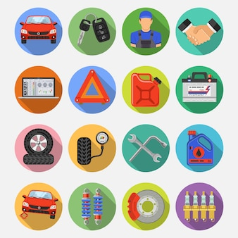 Icone di vettore stabilite di servizio dell'automobile