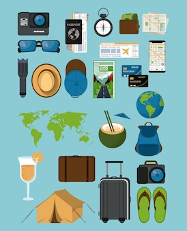 Icone di viaggi e turismo