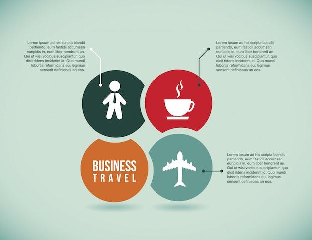 Icone di viaggio d'affari su sfondo blu