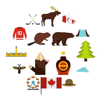Icone di viaggio del canada messe nello stile piano