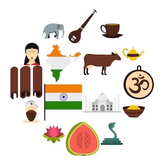 Icone di viaggio dell'india messe nello stile piano