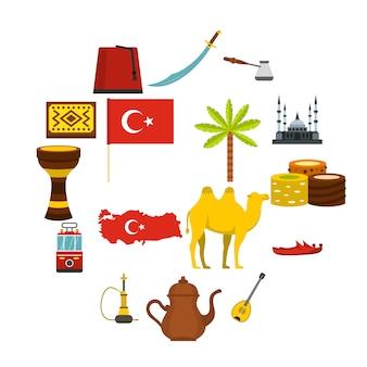 Icone di viaggio della turchia messe nello stile piano