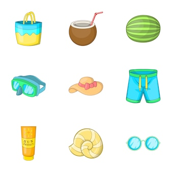 Icone di viaggio di estate messe, stile del fumetto