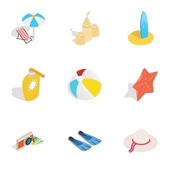 Icone di viaggio di estate, stile isometrico 3d