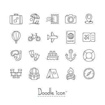 Icone di viaggio doodle.